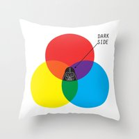 dark side Throw Pillows featuring Dark Side by I Love Doodle