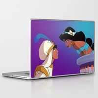aladdin Laptop & iPad Skins featuring Aladdin and Jasmine by Niko Herrera