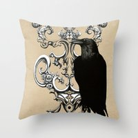 raven Throw Pillows featuring Raven by Кaterina Кalinich