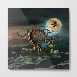 Vegvisir Tree Moon landscape Metal Print