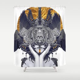 Black Feathers Shower Curtain