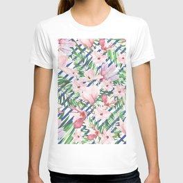 Modern blue white stripes blush pink green watercolor floral T-shirt