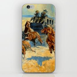 """Frederic Remington Western Art """"Downing the Nigh Leader"""" iPhone Skin"""