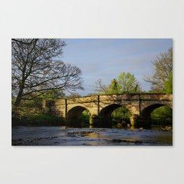 River Manifold Bridge Ilam Village Canvas Print