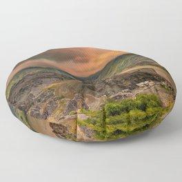 Snowdon Mountain from Slate Quarry Llanberis Floor Pillow