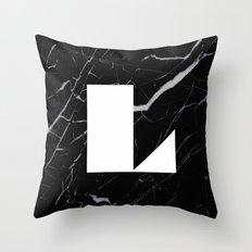 Black Marble - Alphabet L Throw Pillow
