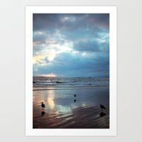 santa monica Art Prints featuring Santa Monica by Kylie Turley