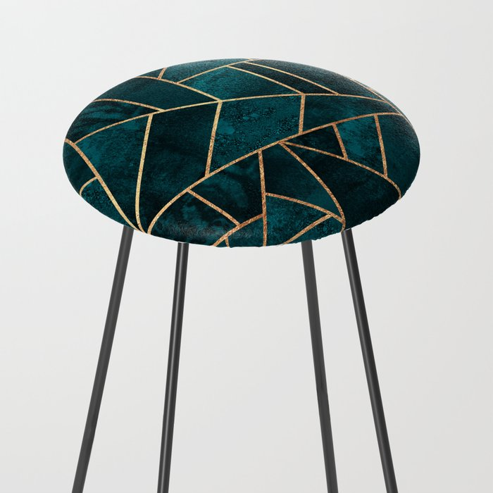 Deep Teal Stone Counter Stool
