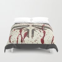 last of us Duvet Covers featuring Well, that's the last of us Fireflies. by Art by Ash