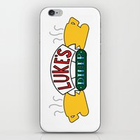 gilmore girls iPhone & iPod Skins featuring Gilmore Girls/Friends - Luke's Diner at Central Perk by Scurpix Art