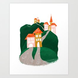Hillside Village Art Print