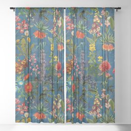Vintage & Shabby Chic - Blue Midnight Spring Botancial Flower Garden Sheer Curtain