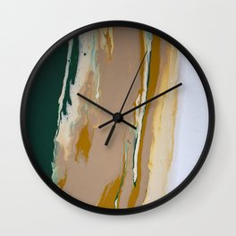 So Far Away Green Brown Neutral Marble Fluid Acrylic Painting Wall Clock