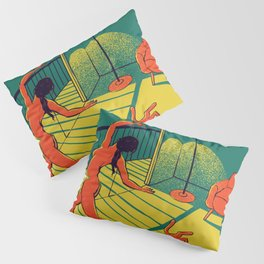 Dancing with the cat | Moody sunset light and shadows Aesthetic Green room Naked dance Femme Fatale  Pillow Sham