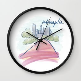Indianapolis Canal Cityscape Wall Clock