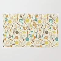 kitchen Area & Throw Rugs featuring Kitchen Utensils by Anna Deegan