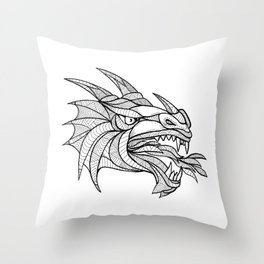 Dragon Head Zentagle Throw Pillow