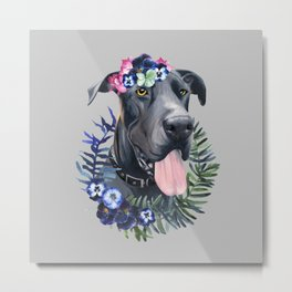 Flower power great Dane Metal Print