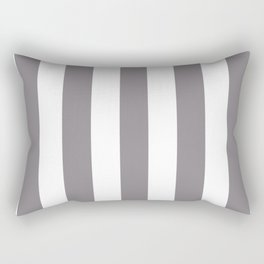 Taupe gray - solid color - white vertical lines pattern Rectangular Pillow