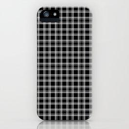 Black and white tartan plaid . iPhone Case