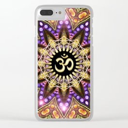 OM SHANTI Magic Lights Mandala Clear iPhone Case