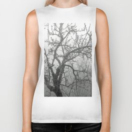 Black and white naked tree Biker Tank
