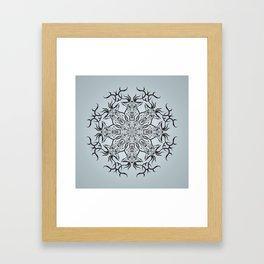 Deer mandala on gray background Framed Art Print