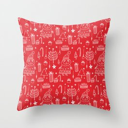 Santa Workshop Red Throw Pillow