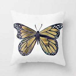 Gold Butterfly Throw Pillow