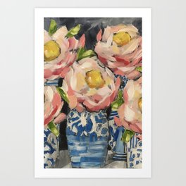Pink Camellias No 2 Art Print