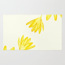 yellow botanical crocus watercolor Rug