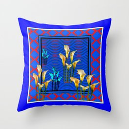 Blue Art White Calla Lilies Red Patterns Throw Pillow