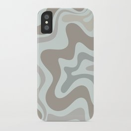 Liquid Swirl Abstract Pattern in Taupe Gray and Light Ice Blue iPhone Case
