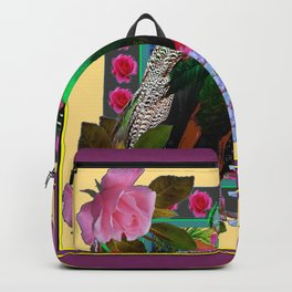 YELLOW-PUCE  PURPLE & PINK ROSES GREEN PEACOCK FLORAL Backpack