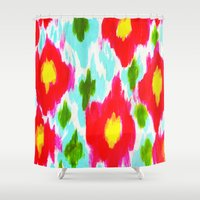 ikat Shower Curtains featuring Bright Ikat by Allyson Johnson