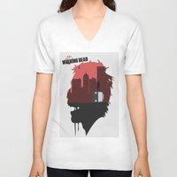 the walking dead V-neck T-shirts featuring Walking Dead by SirGabi