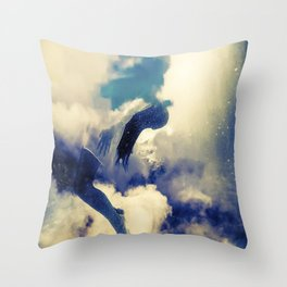 Woman and sky Throw Pillow