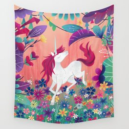 Floral Frolic Unicorn Wall Tapestry