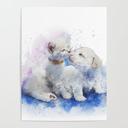 Puppy & Kitten Watercolor Poster