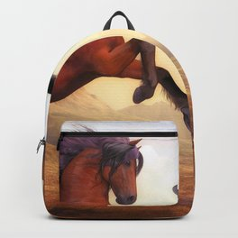 Two Fury Horses On Hind Legs Ultra HD Backpack