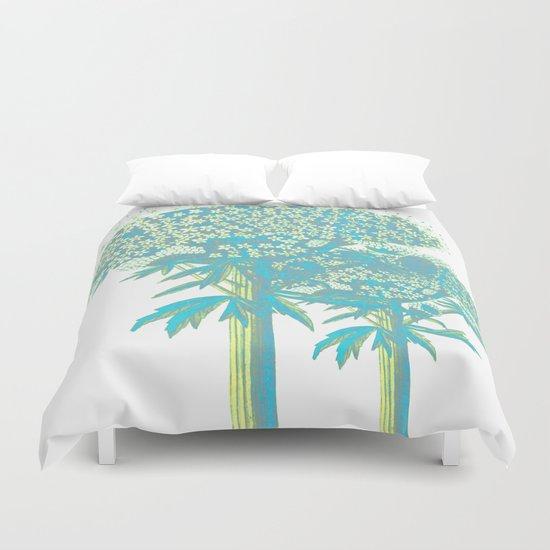 turquoise botanical Duvet Cover