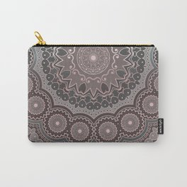 Mandala Spirit, Rose Pink, Gray Carry-All Pouch