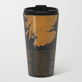Distilleries of Scotland (woodpress) Metal Travel Mug