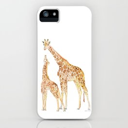 Mother and Baby Giraffes iPhone Case