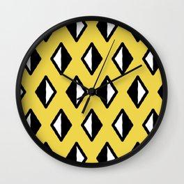 Diamond Pattern Yellow Wall Clock
