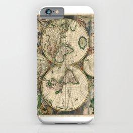 1689 Map of the World by Gerard van Schagen iPhone Case