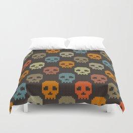Knitted skull pattern - colorful Duvet Cover