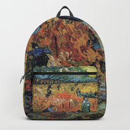 The Red Vineyards Oil Painting on Burlap by Vincent van Gogh Backpack