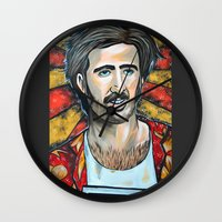 nicolas cage Wall Clocks featuring Raising Arizona Nicolas Cage by Portraits on the Periphery