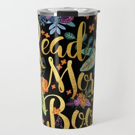 Read More Books - Black Floral Gold Travel Mug